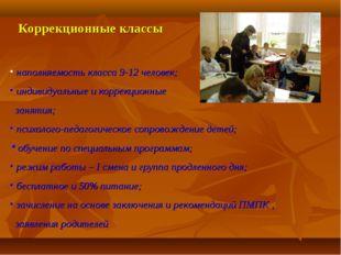 Коррекционные классы наполняемость класса 9-12 человек; индивидуальные и корр