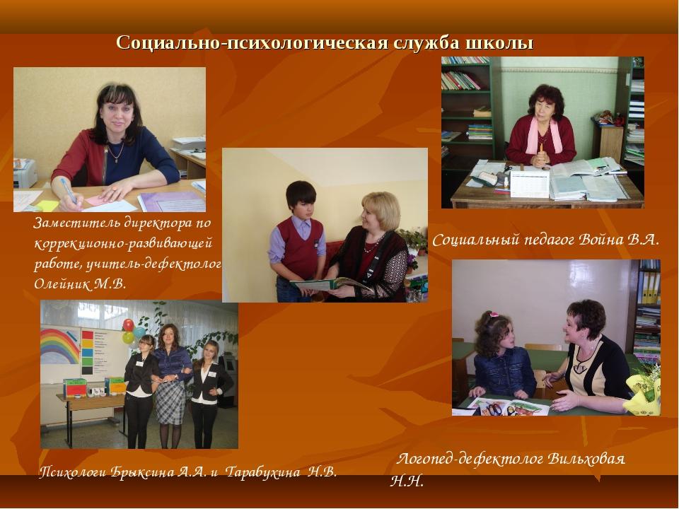 Социально-психологическая служба школы Заместитель директора по коррекционно-...