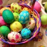 Окрашивание пасхальных яиц пищевыми красителями из пакетиков