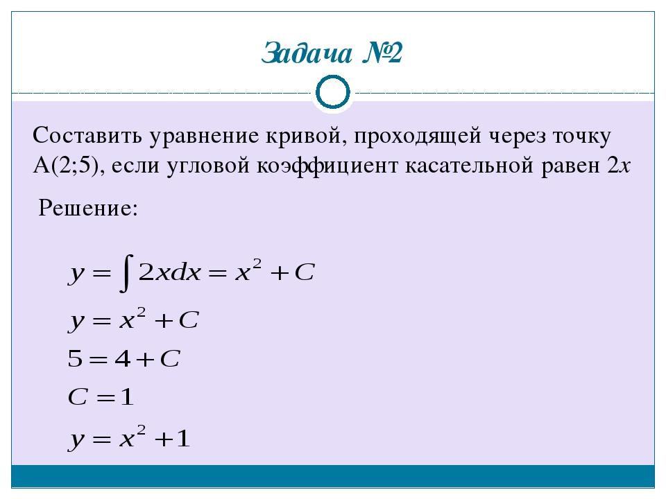 Задача №2 Составить уравнение кривой, проходящей через точку А(2;5), если угл...