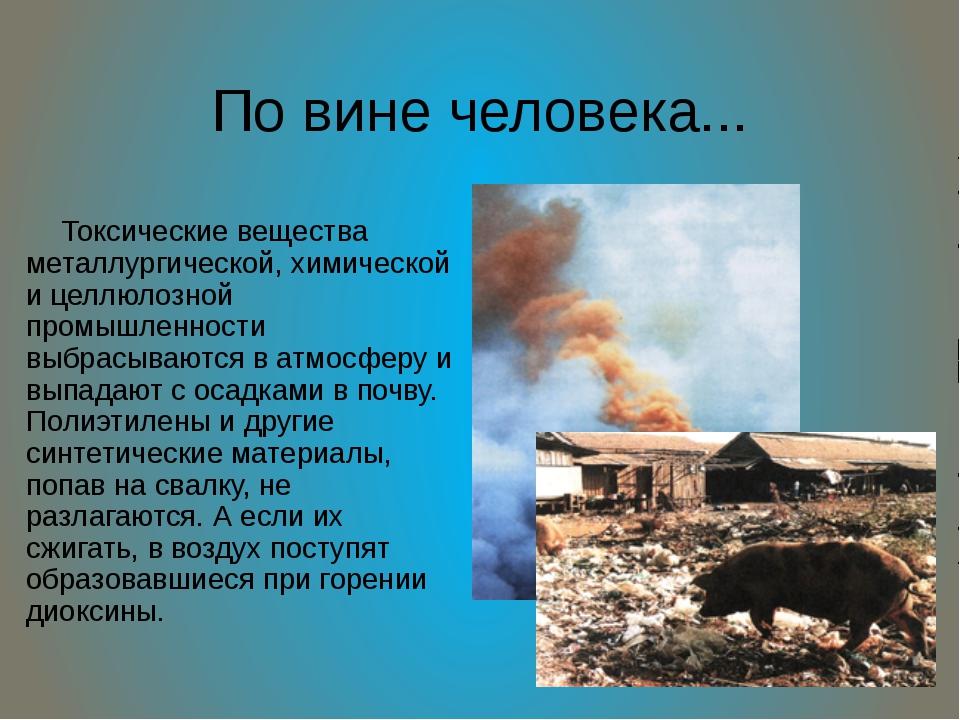 По вине человека... Токсические вещества металлургической, химической и целлю...
