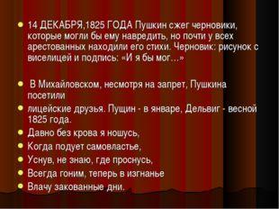 14 ДЕКАБРЯ,1825 ГОДА Пушкин сжег черновики, которые могли бы ему навредить, н