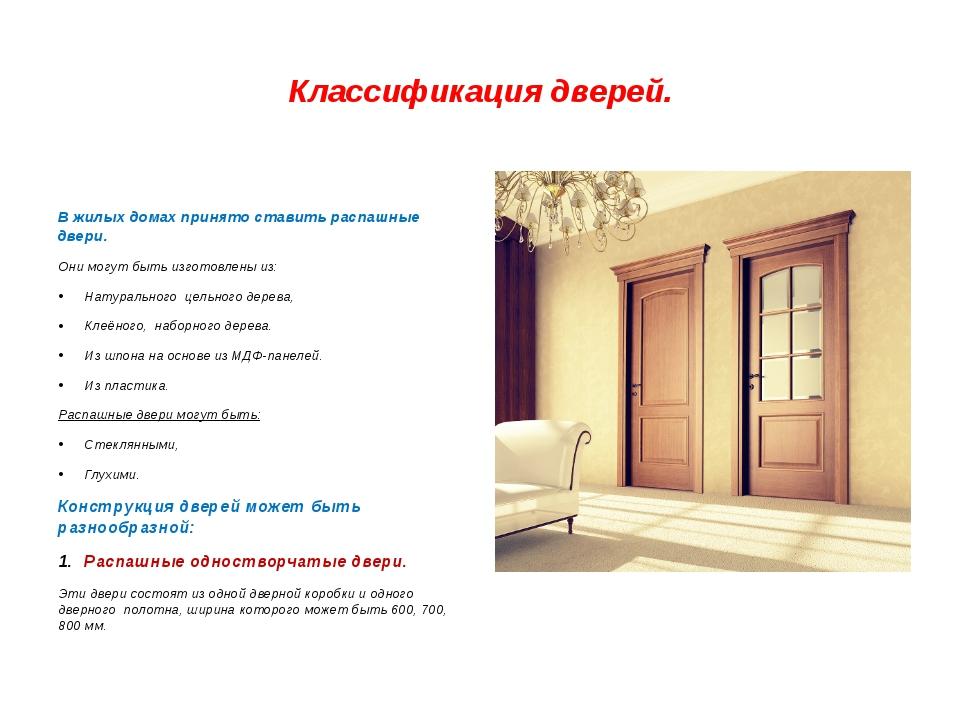 Классификация дверей. В жилых домах принято ставить распашные двери. Они могу...