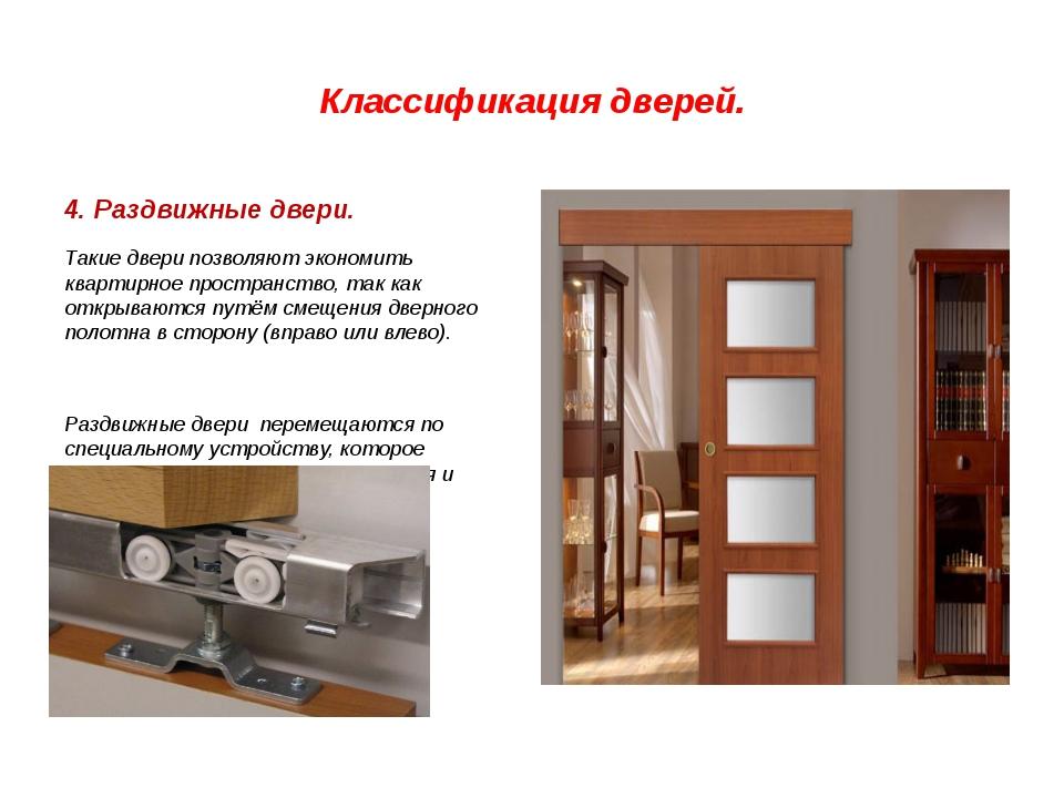 Классификация дверей. 4. Раздвижные двери. Такие двери позволяют экономить кв...