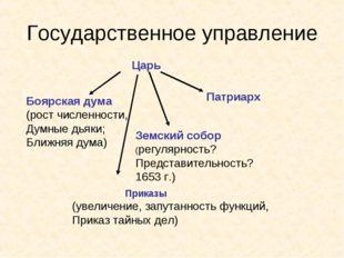 Государственное управление Царь Боярская дума (рост численности, Думные дьяки