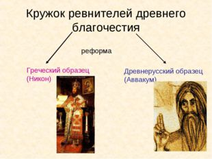 Кружок ревнителей древнего благочестия реформа Греческий образец (Никон) Древ