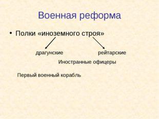 Военная реформа Полки «иноземного строя» драгунские рейтарские Иностранные оф