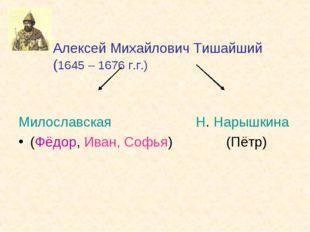 Алексей Михайлович Тишайший (1645 – 1676 г.г.) Милославская Н. Нарышкина (Фё