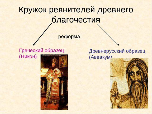 Кружок ревнителей древнего благочестия реформа Греческий образец (Никон) Древ...