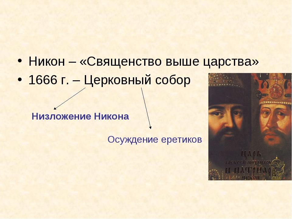 Никон – «Священство выше царства» 1666 г. – Церковный собор Низложение Никона...