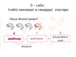 9 – сабақ Азайту амалындағы сандардың атаулары