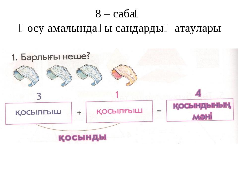 8 – сабақ Қосу амалындағы сандардың атаулары