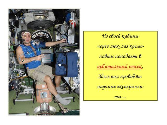 Из своей кабины через люк-лаз космо- навты попадают в орбитальный отсек. Здес...