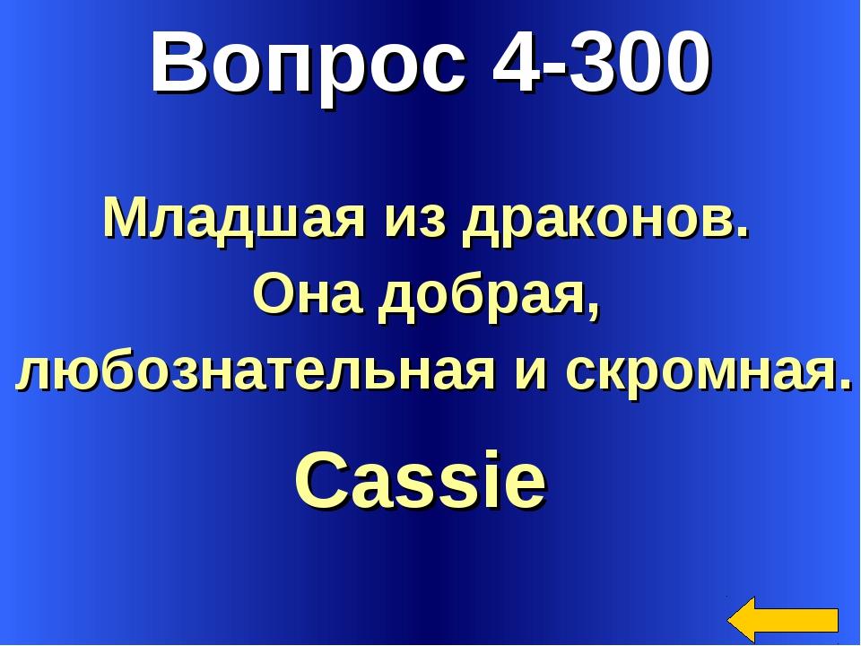 Вопрос 4-300 Cassie Младшая из драконов. Она добрая, любознательная и скромная.
