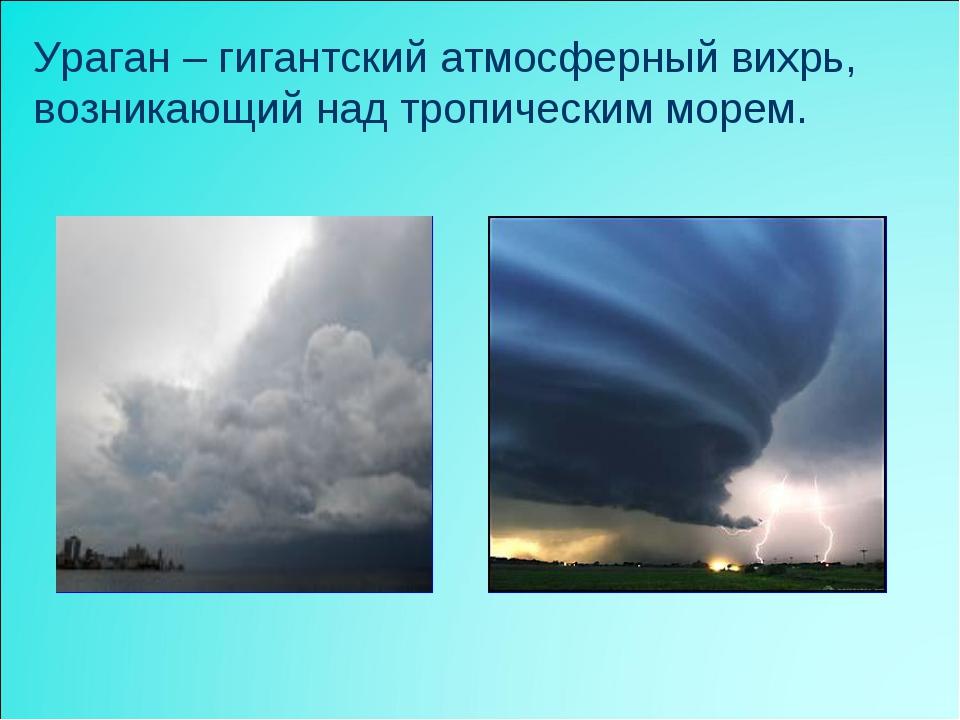 Ураган – гигантский атмосферный вихрь, возникающий над тропическим морем.