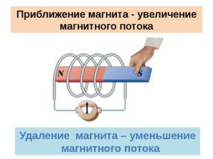 Приближение магнита - увеличение магнитного потока Удаление магнита – уменьше
