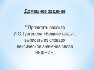Домашнее задание Прочитать рассказ И.С.Тургенева «Вешние воды», выписать из с