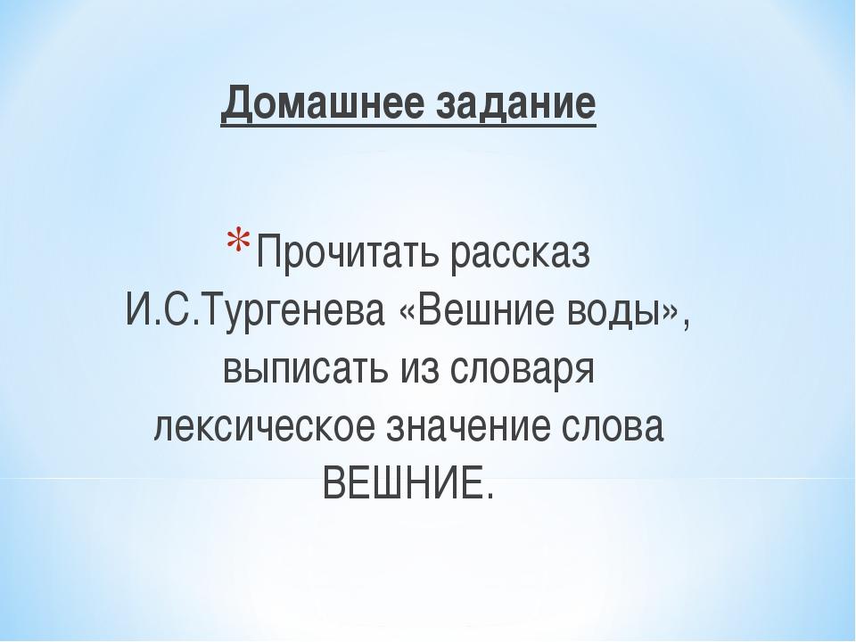 Домашнее задание Прочитать рассказ И.С.Тургенева «Вешние воды», выписать из с...
