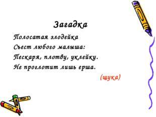Загадка Полосатая злодейка Съест любого малыша: Пескаря, плотву, уклейку. Не