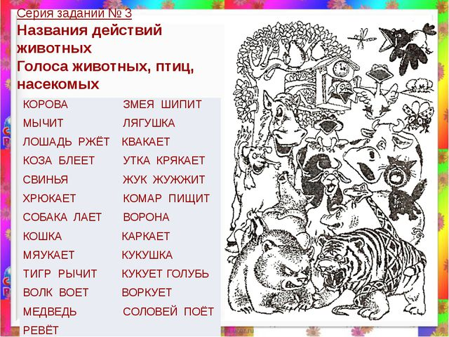 Серия заданий № 3 Названия действий животных Голоса животных, птиц, насекомых...