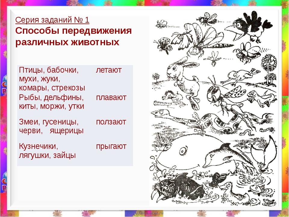Серия заданий № 1 Способы передвижения различных животных Птицы,бабочки, мухи...