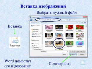 Вставка изображений Подтвердить Вставка Выбрать нужный файл Word поместит его