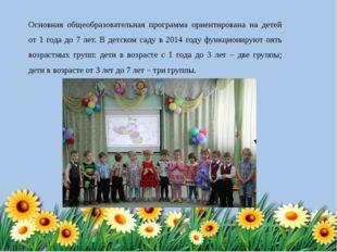 Основная общеобразовательная программа ориентирована на детей от 1 года до 7