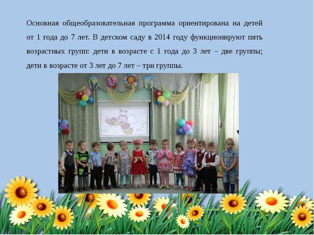 Основная общеобразовательная программа ориентирована на детей от 1 года до 7...