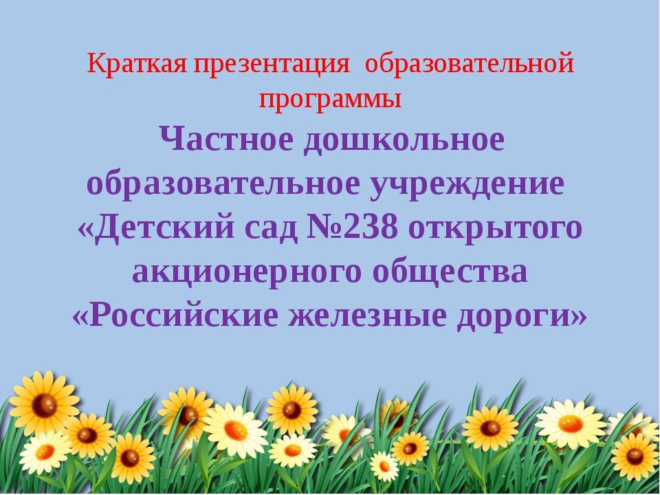 Краткая презентация образовательной программы Частное дошкольное образователь...