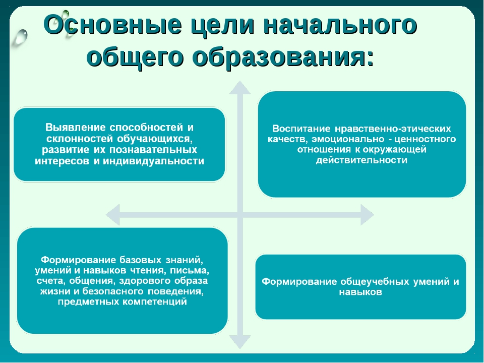 Основные цели начального общего образования: