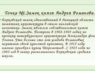 Точка №1.Замок князя Андрея Романова. Борковский замок-единственный в Липецк