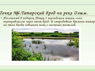 Точка №6.Татарский брод на реке Олым. Посланный в подарок Петру I персидским