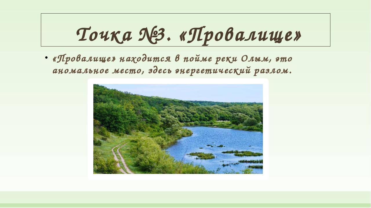 Точка №3. «Провалище» «Провалище» находится в пойме реки Олым, это аномально...