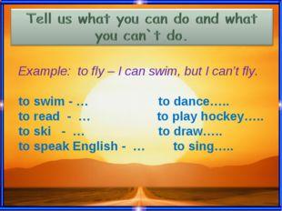 Скажите, что вы умеете делать и чего не умеете делать. Вам поможет Can или Ca