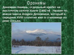 Денежкин Камень, отдельный хребет на восточном склоне Урала (1492 м) . Назван