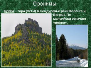 Кумба – гора (921м) в междуречье реки Колонга и Вагран. По-мансийски означает