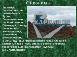 Карпинск расположен на левом берегу Турьи. Первоначально посёлок возник благо