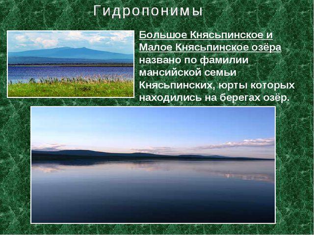 Большое Княсьпинское и Малое Княсьпинское озёра названо по фамилии мансийской...
