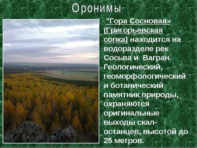 """""""Гора Сосновая» (Григорьевская сопка) находится на водоразделе рек Сосьва и..."""