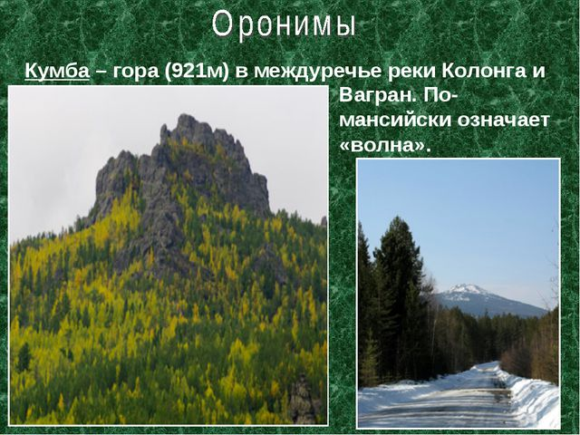 Кумба – гора (921м) в междуречье реки Колонга и Вагран. По-мансийски означает...