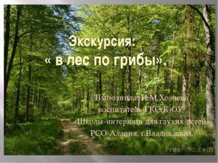 Экскурсия: « в лес по грибы». Выполнила: И.М.Хозиева воспитатель ГКС(К)ОУ «Шк