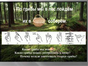 По грибы мы в лес пойдём их в соберём. Какие грибы вы знаете? Какие грибы мож