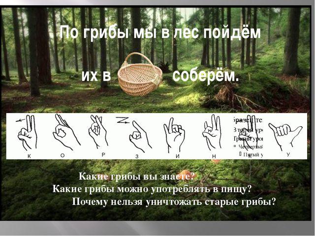 По грибы мы в лес пойдём их в соберём. Какие грибы вы знаете? Какие грибы мож...