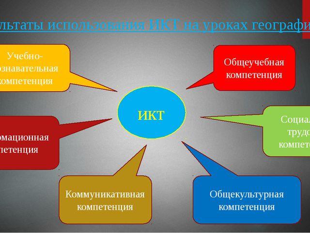 Результаты использования ИКТ на уроках географии икт Общеучебная компетенция...
