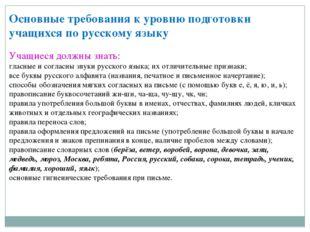 Основные требования к уровню подготовки учащихся по русскому языку  Учащиеся