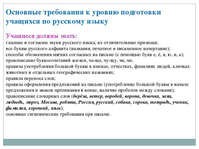 Основные требования к уровню подготовки учащихся по русскому языку  Учащиеся...