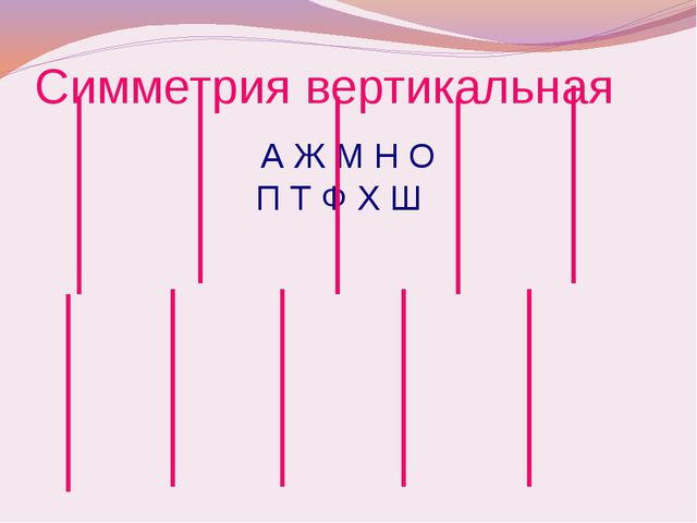 Симметрия вертикальная А Ж М Н О П Т Ф Х Ш
