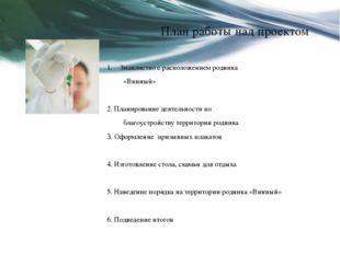 План работы над проектом Знакомство с расположением родника «Винный»  2. Пла