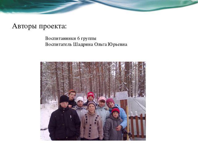 Авторы проекта: Воспитанники 6 группы Воспитатель Шадрина Ольга Юрьевна