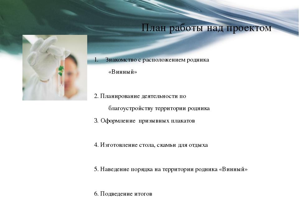 План работы над проектом Знакомство с расположением родника «Винный»  2. Пла...